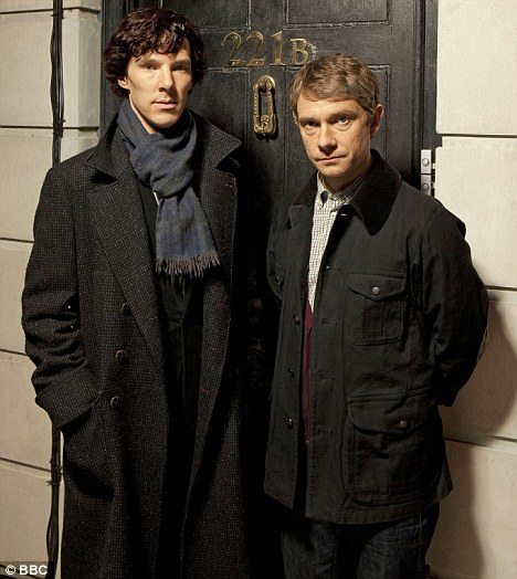 Benedict Cumberbatch is on the right. His sidekick, Martin Freeman's name has never kept me up at night.  Image from www.i.dailymail.co.uk.