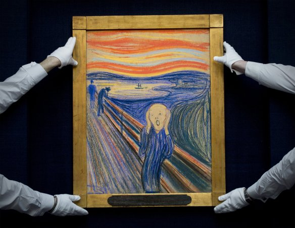 The original Munch face, the day Sotheby's sold it for $120 million. Flight attendants got mine for free! Getty image from www.nj.com.